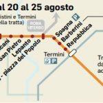 Dal 20 al 25 agosto per lavori in metro A nuovi disagi in vista tra Battistini e Termini