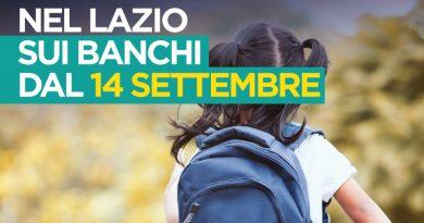 Nel Lazio sui banchi dal 14 settembre