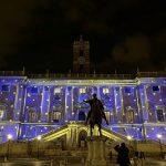Palazzo Senatorio illuminato con la magia del video-mapping Visioni di Natale