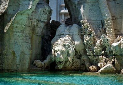 il leone della fontana dei Quattro Fiumi